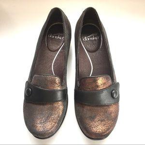 Dansko Olena copper metallic suede loafers size 38